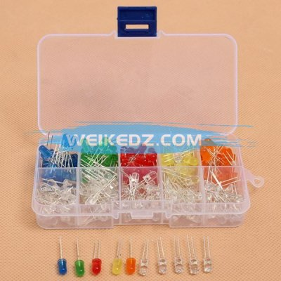200Pcs 5MM LED Diode Kit Mixed Color Red Gr
